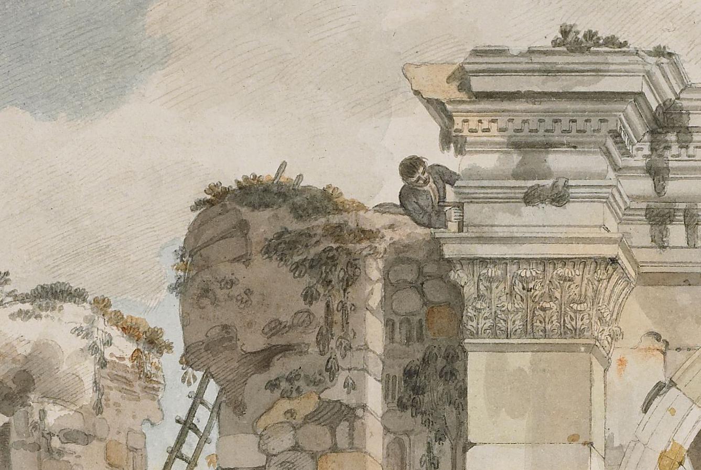 A watercolour of a man high up measuring a ruin