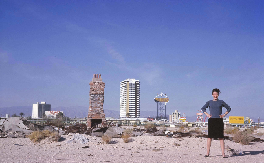 Denise Scott Brown standing in front of the Las Vegas strip
