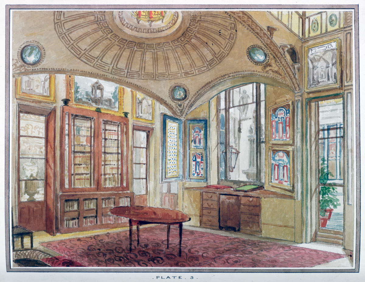 A colour drawing of the Breakfast Room, a domed space filled with mirrors