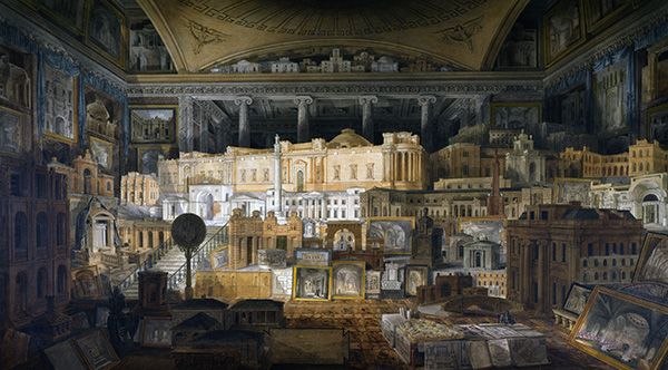 Architectural composition of framed perspectives and models of designs by Sir John Soane executed from 1780 to 1815