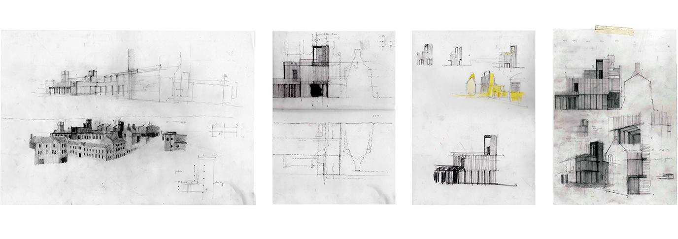 Four drawings of buildings
