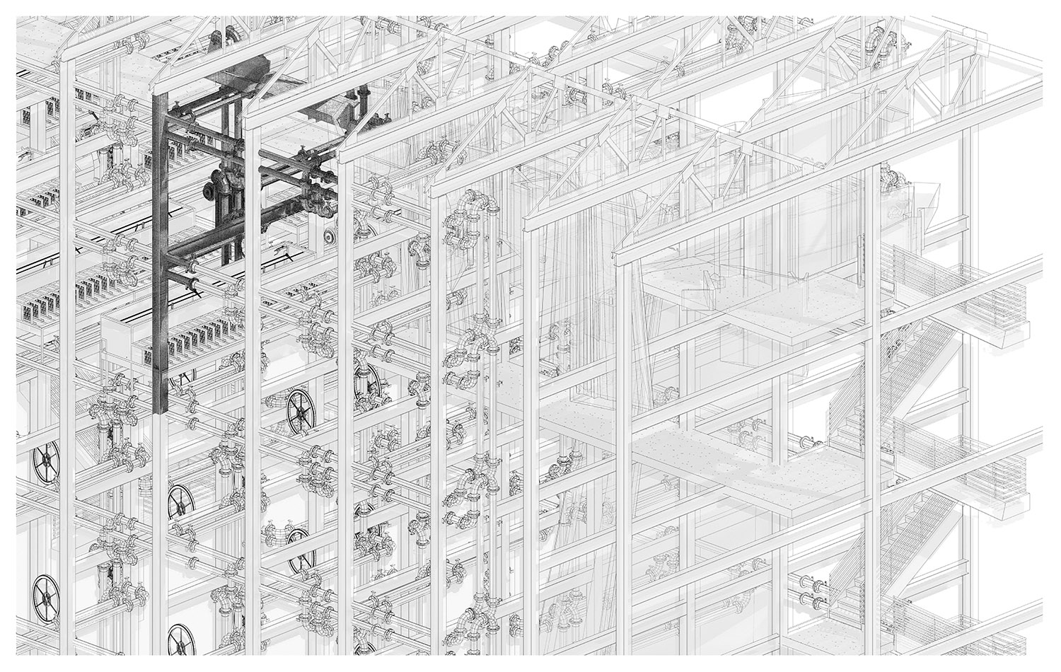 A complex digital drawing of an architectural structure