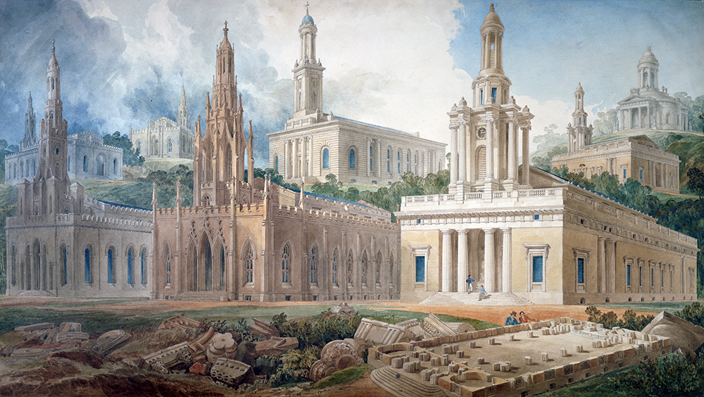 Joseph Michael Gandy, Soane Royal Academy lecture drawing showing different styles of churches.jpg