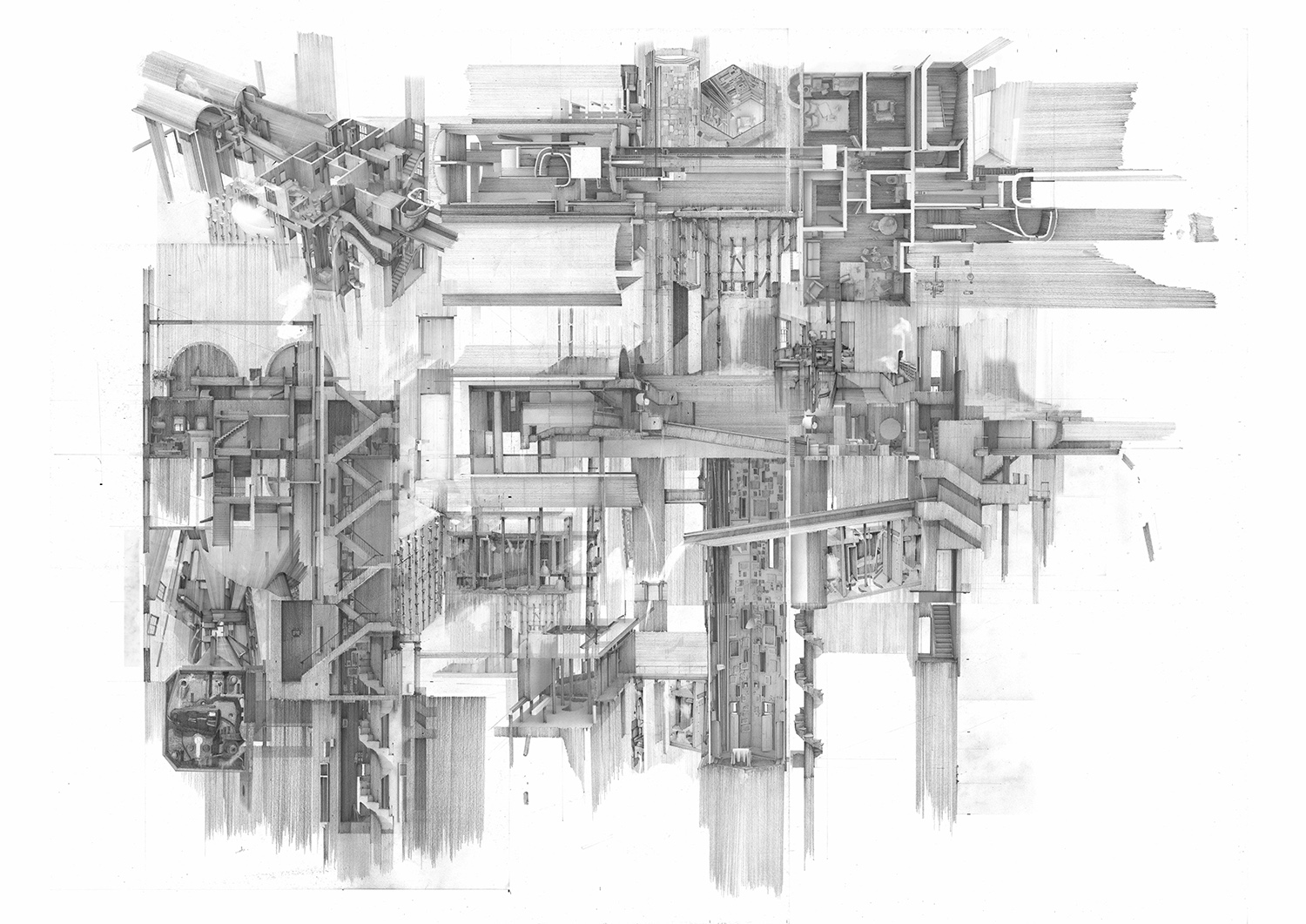 Pencil and digital drawing of an architectural construction