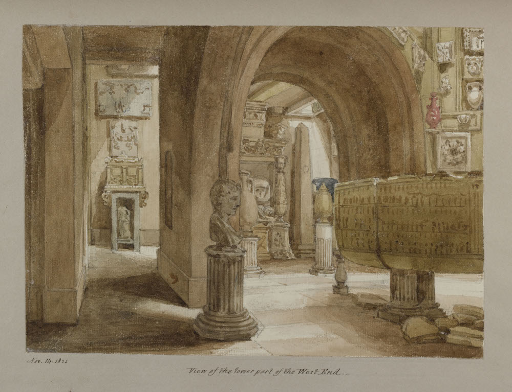 A watercolour showing the gloomy crypts, filled with sarcophagi and fragmentary statues