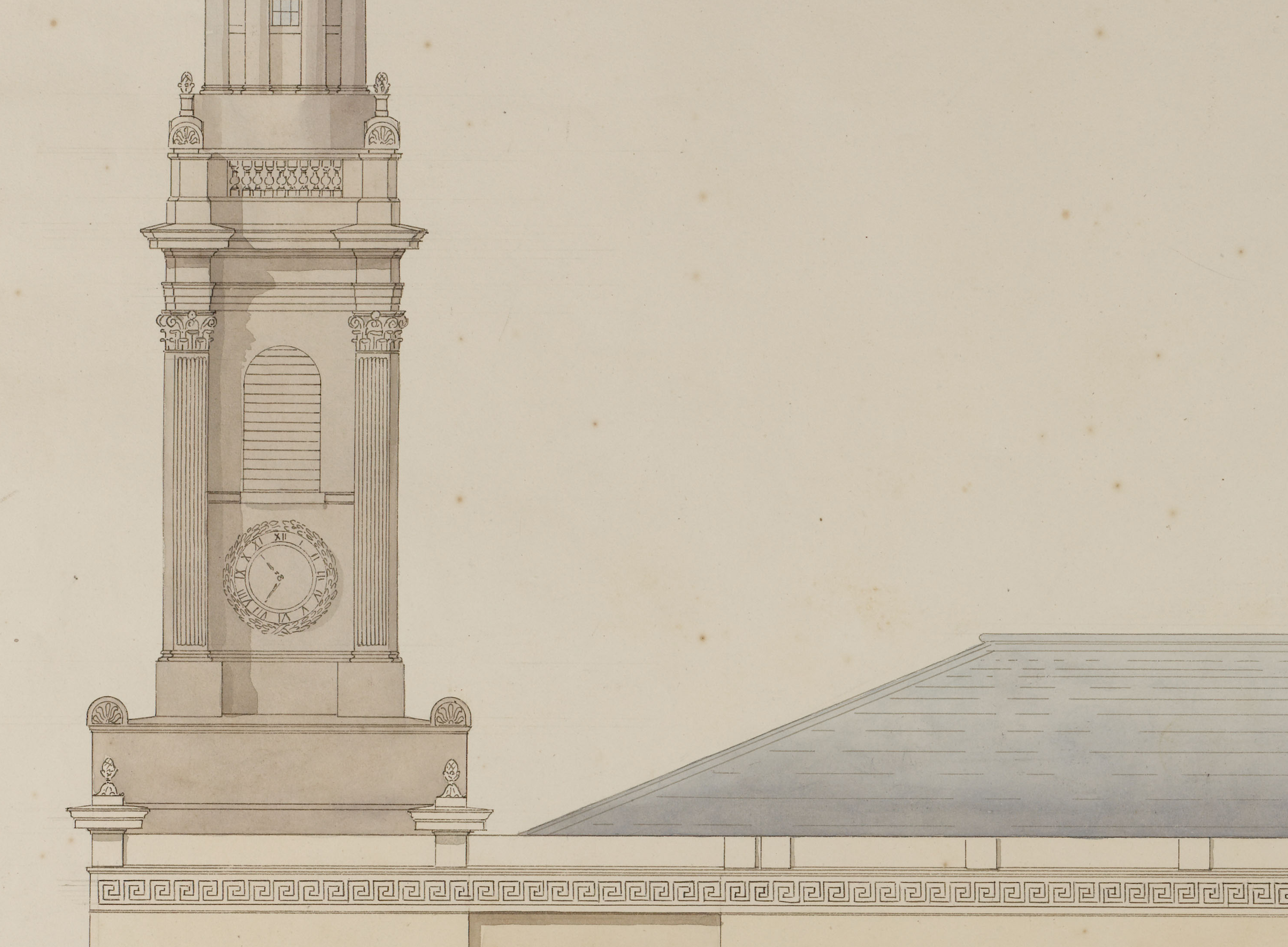 Detail of Soane office hand elevation of St Peter's, Walworth