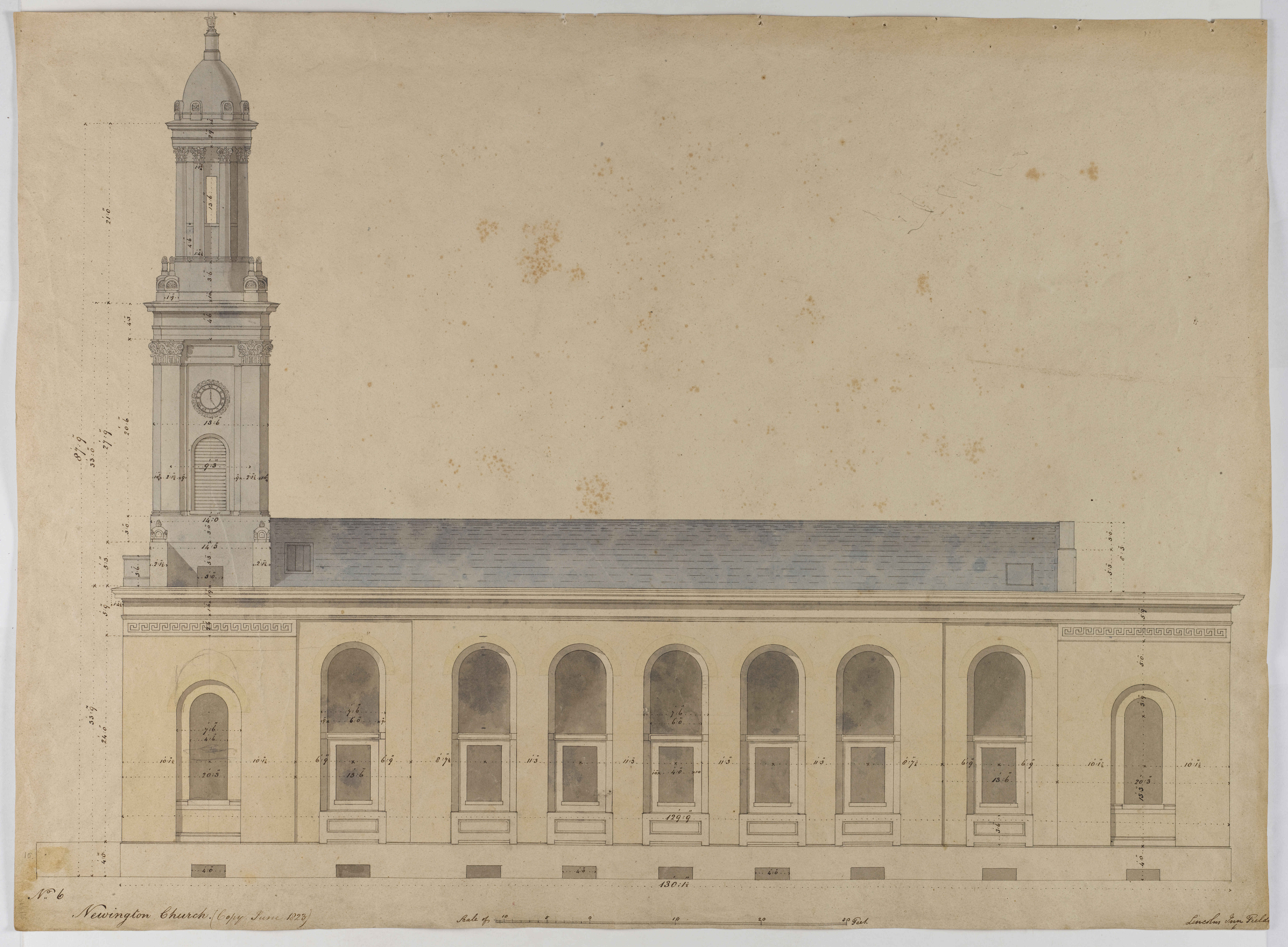 Drawing by Soane office of an elevation of St Peter's, Walworth, 1823