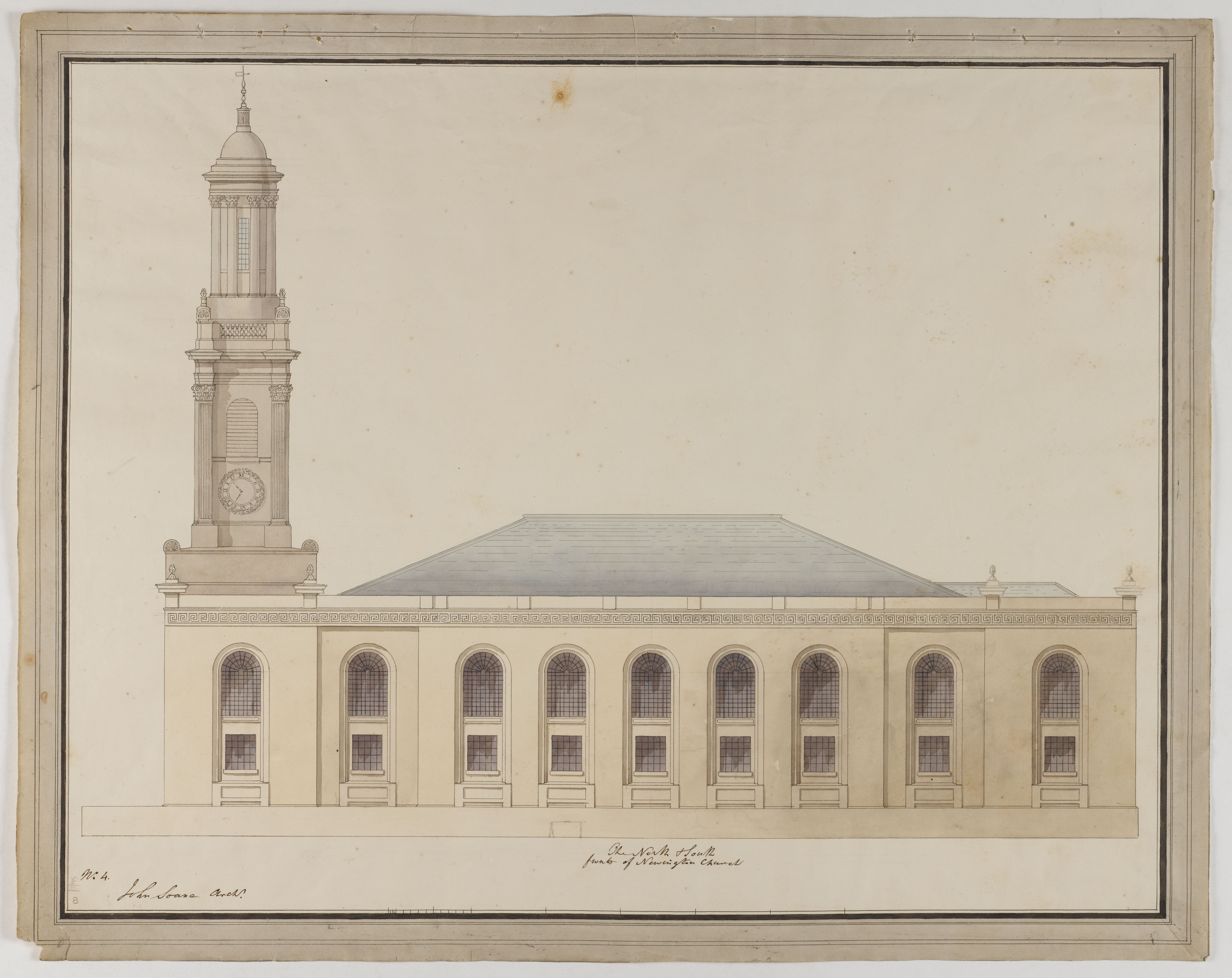 Drawing by Soane office of an elevation of St Peter's, Walworth, datable to 1822