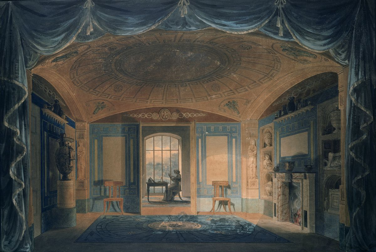 Watercolour showing a view of Soane's breakfast room