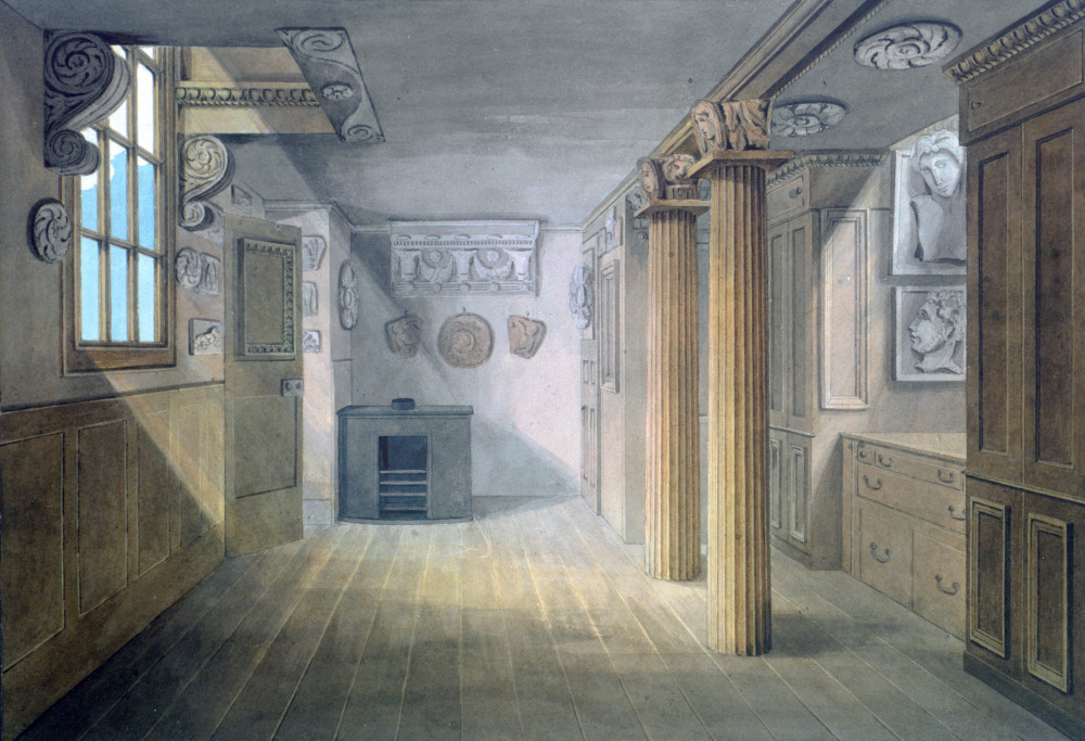 Soane's architectural office at the back of No. 12, hung with plaster casts, signed and dated J Adams July 20th 1808, watercolour on paper, SM Vol.83/33