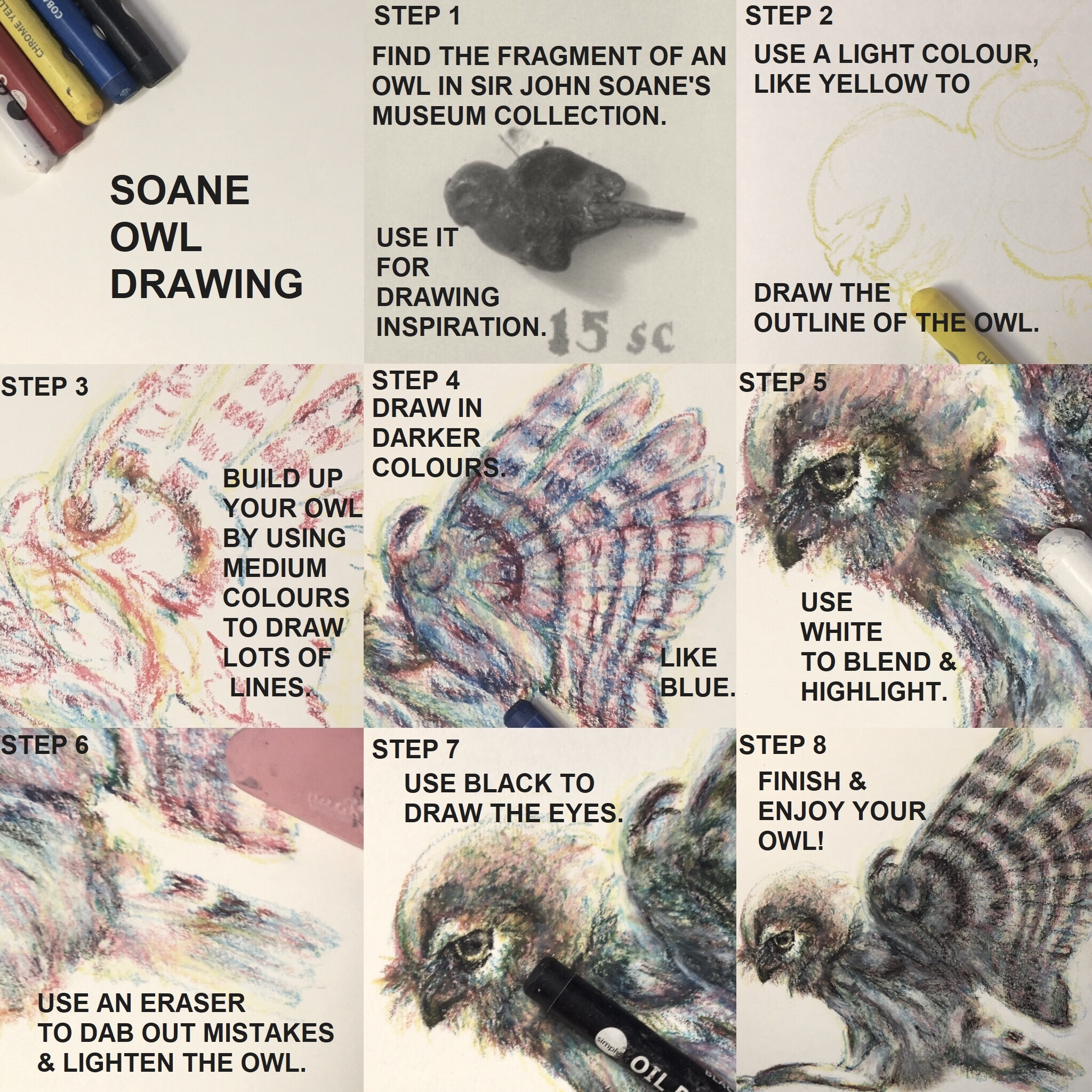 Instructions on how to draw an owl