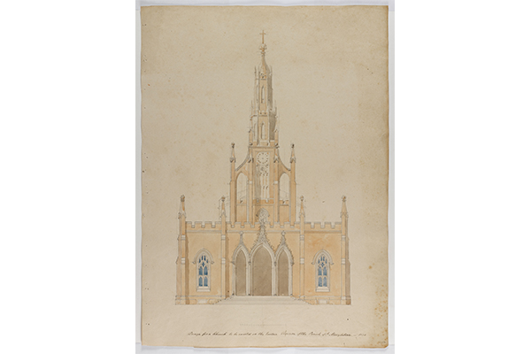 Soane office hand, elevation of the principal front for a Neo Gothic version of Holy Trinity Church, Marylebone.jpg