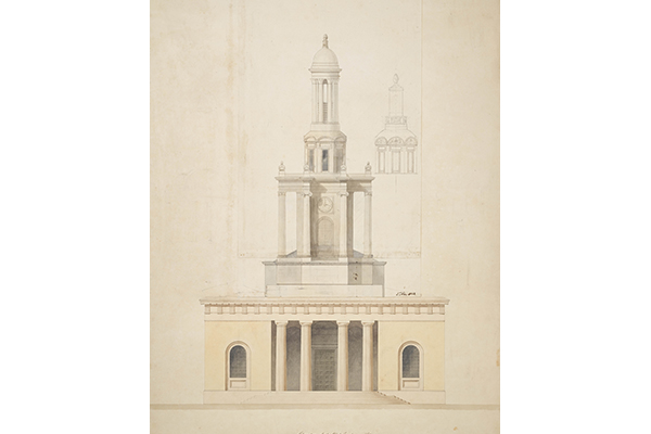 Soane office hand, elevation of the principal front of Holy Trinity Church, Marylebone.jpg