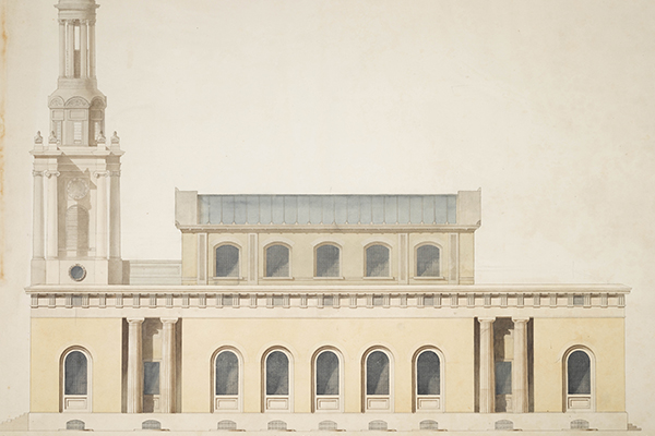 Soane office hand, elevation of the principal front of a classical Holy Trinity Church, Marylebone.jpg