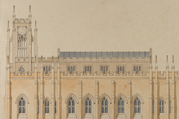 Soane office hand, side elevation of a Neo-Gothic version of Holy Trinity Church, Marylebone.jpg