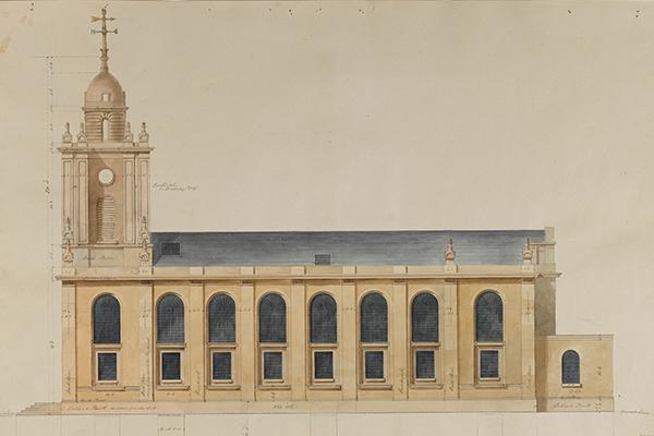 Soane Office, South elevation of St John's, Bethnal Green, London, with truncated tower, February 1826, SM 47/5/6 © Sir John Soane's Museum / Ardon Bar-Hama