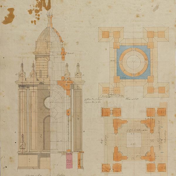 Soane Office, St John's, Bethnal Green, London, plan, elevation, and section of the truncated tower, c. 1826 SM 47/5/16 © Sir John Soane's Museum / Ardon Bar-Hama