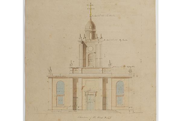 Soane Office, West elevation of St John's, Bethnal Green, London, with truncated tower 1826-1828 SM 47/5/5 © Sir John Soane's Museum / Ardon Bar-Hama