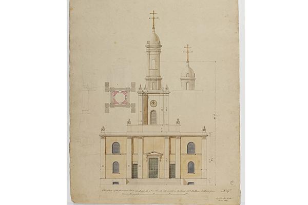 Soane Office, West elevation of St John's, Bethnal Green, London, with plan and alternative tower design, June 1825, SM 47/5/57 © Sir John Soane's Museum / Ardon Bar-Hama
