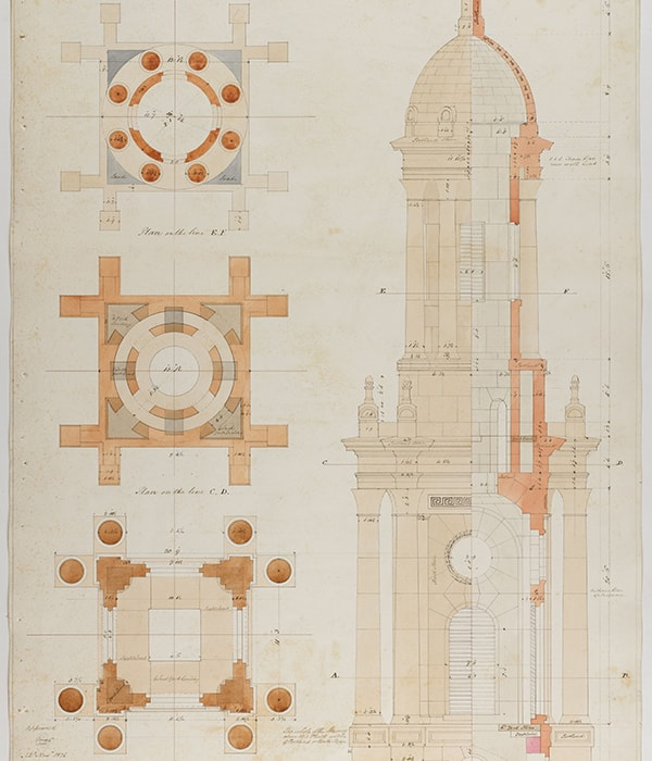 Fig. 2. Attr. Stephen Burchell, Holy Trinity, Marylebone, plans, part-elevation and part-section, with colour-coding for a tower design, 25 October 1826, SM 54/4/26 © Sir John Soane's Museum / Ardon Bar-Hama