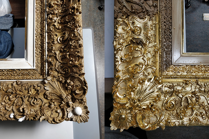 The frame before and during gilding
