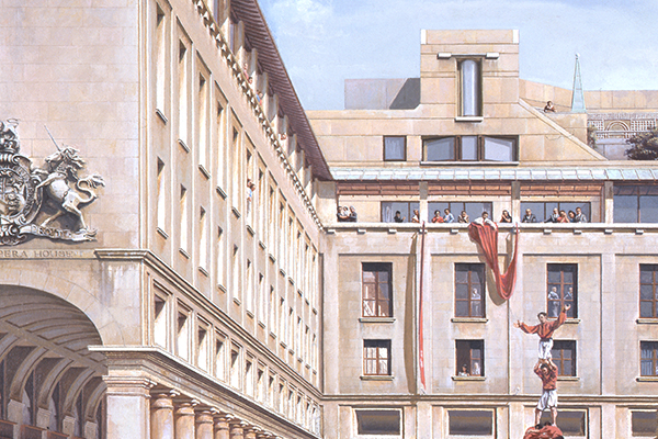 Carl Laubin, Painting of the Royal Opera House project in Covent Garden by Jeremy Dixon and BDP, 1986.  Credit: Dixon Jones Architects