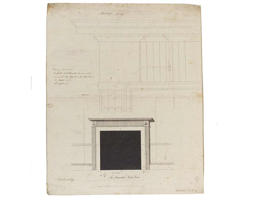 Working drawing of a fireplace