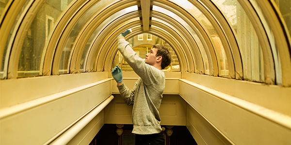 A conservator cleans a tinted lantern window high in Sir John Soane's Museum