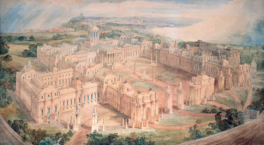 Painting of a palace design seen from the air