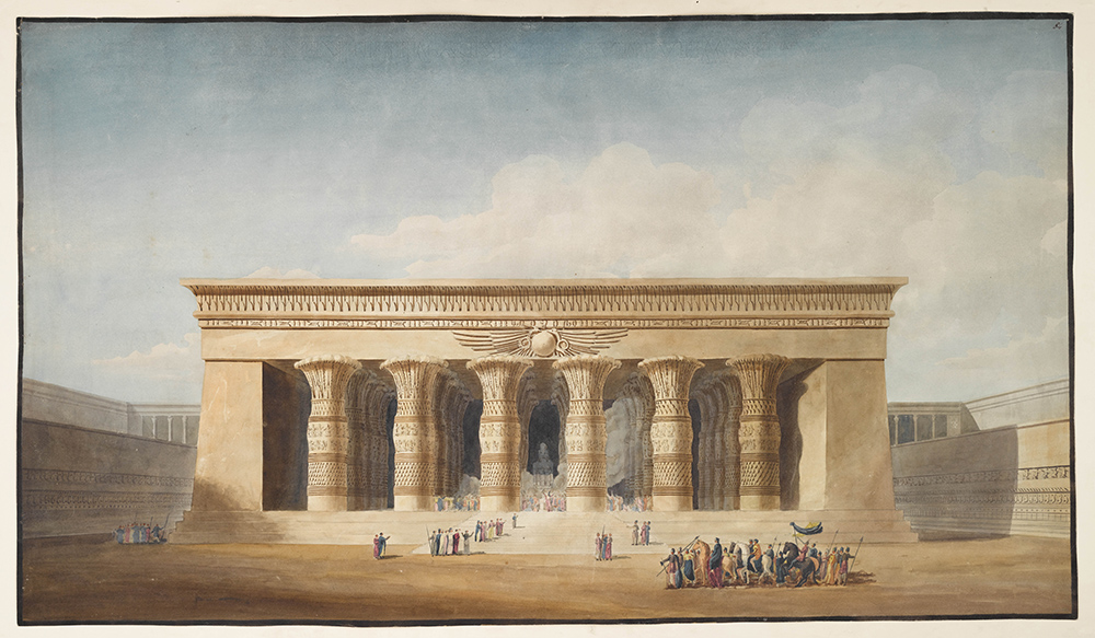 A drawing of an Egyptian temple as it might have looked
