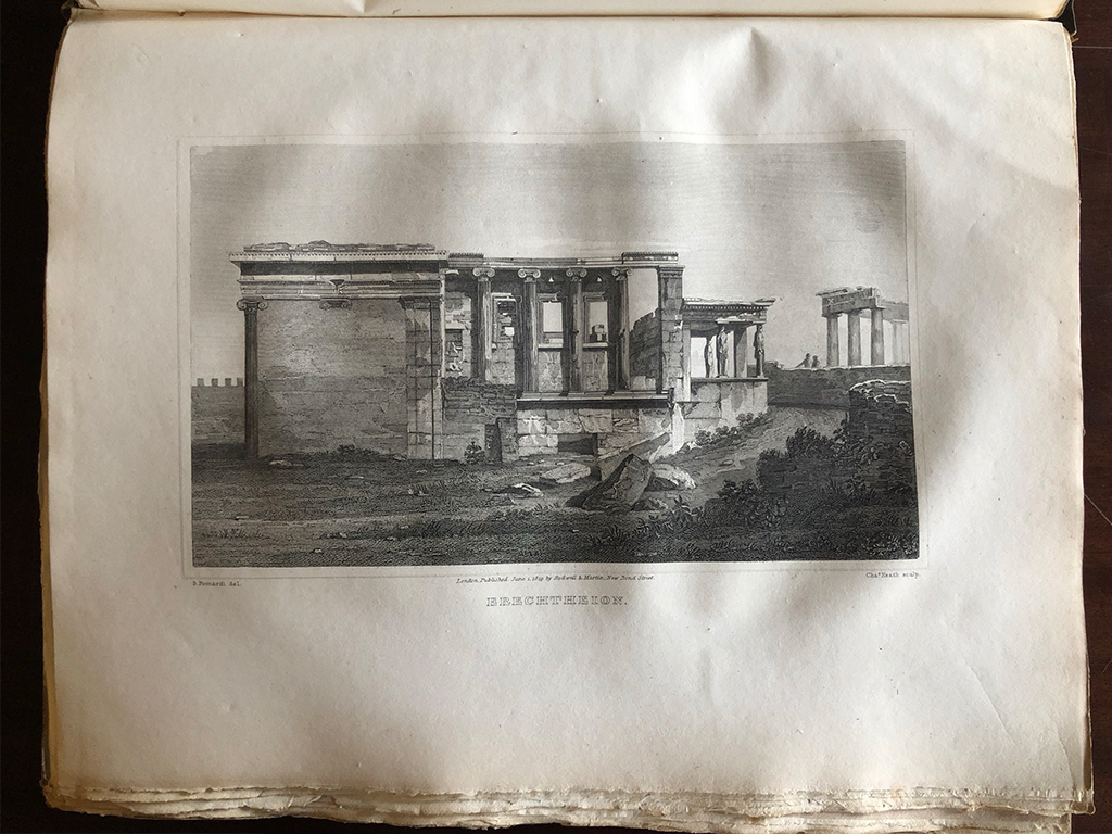 A page in a large, old book displaying an engraving of the Erectheion