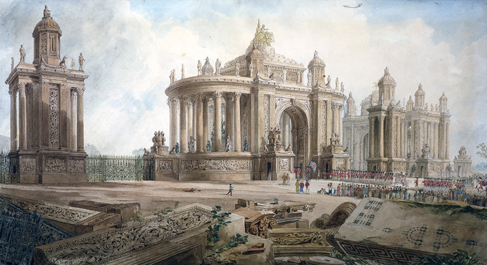unexecuted design for an entrance into London, exhibited at the RA in 1826