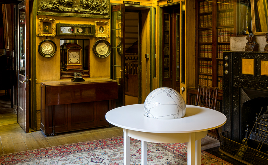 Globe Table, 2020. Artists' collection. Installation view in the No. 13 Breakfast Room, photo by Gareth Gardner