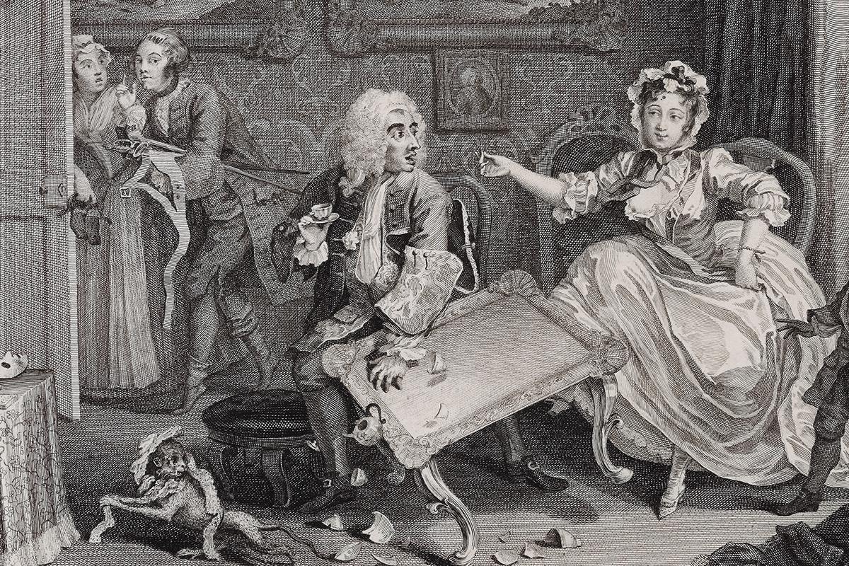 William Hogarth (1697-1764), A Harlot's Progress, 2 (detail), 1732. Etching and engraving, 31.4 x 37.8. Andrew Edmunds, London