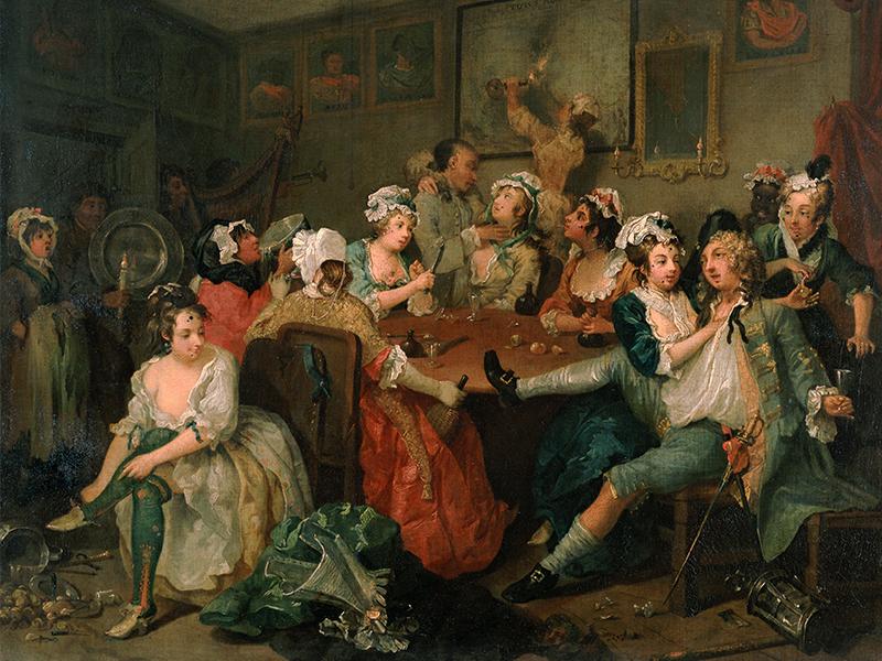 William Hogarth (1697-1764), A Rake's Progress, 3: The Orgy, 1734. Oil on canvas, 62.5 x 75.2. Sir John Soane's Museum, London
