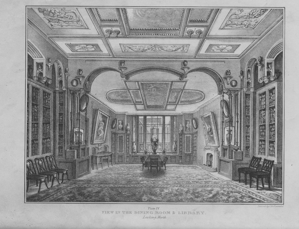 A delicate black and white engraving of the Library Dining Room, as it was in 1835