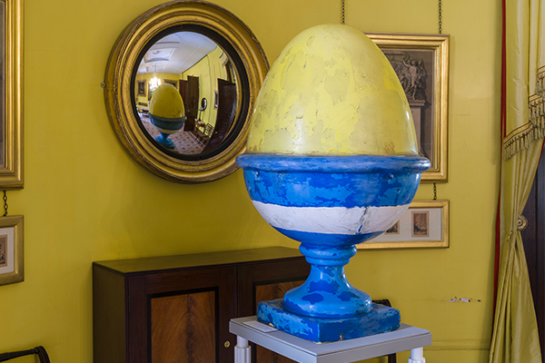 An egg from Terry Farrell's TV-AM building, in situ in the Museum. Photograph by Gareth Gardner