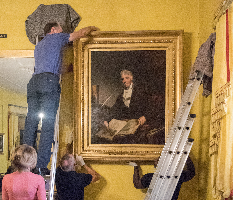 Rehanging William Owen's portrait of Soane