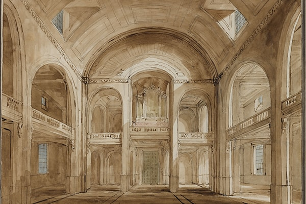 Fig. 4. Soane Office, Holy Trinity, Marylebone, Interior perspective towards the western end, showing the effects of light and shadow from the windows, May 1823, SM 54/3/15 © Sir John Soane's Museum / Ardon Bar-Hama