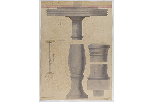 Fig. 5. Attr. Stephen Burchell, St Peter's, Walworth, detail of an Iron pillar, with shading and highlighting, SM 54/6/26 © Sir John Soane's Museum / Ardon Bar-Hama