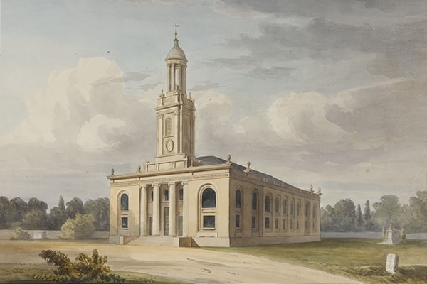 Fig. 6. Attr. George Bailey (signed by Soane), St Peter's, Walworth, perspective from the south-west, set within a landscape, September 1822, SM 54/6/11 © Sir John Soane's Museum / Ardon Bar-Hama