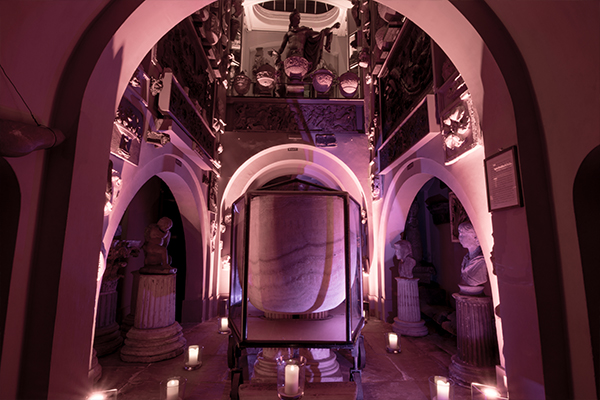 The sarcophagus of Seti I lit in the Manner of Soane's gatherings at one of our after hours Soane Lates