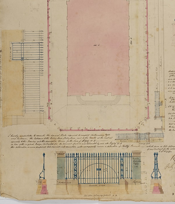 Fig. 3.  Attr. George Bailey and Stephen Burchell, St John's, Bethnal Green, site plan including the curbing for the wall and elevations of parts of the iron railings and their placement around the church, 16 July 1827, SM 47/5/41 © Sir John Soane's Museu