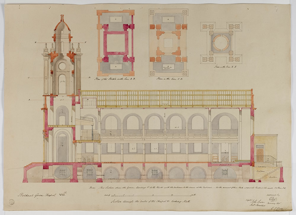 Attr. George Bailey, St John's Bethnal Green, London, 1826, longitudinal section showing the measurements, scale bar, space for a Commissioner's seal, and some of the colour coding used for particular components, Jan-Feb 1826, SM 47/5/9 © Sir John Soane's