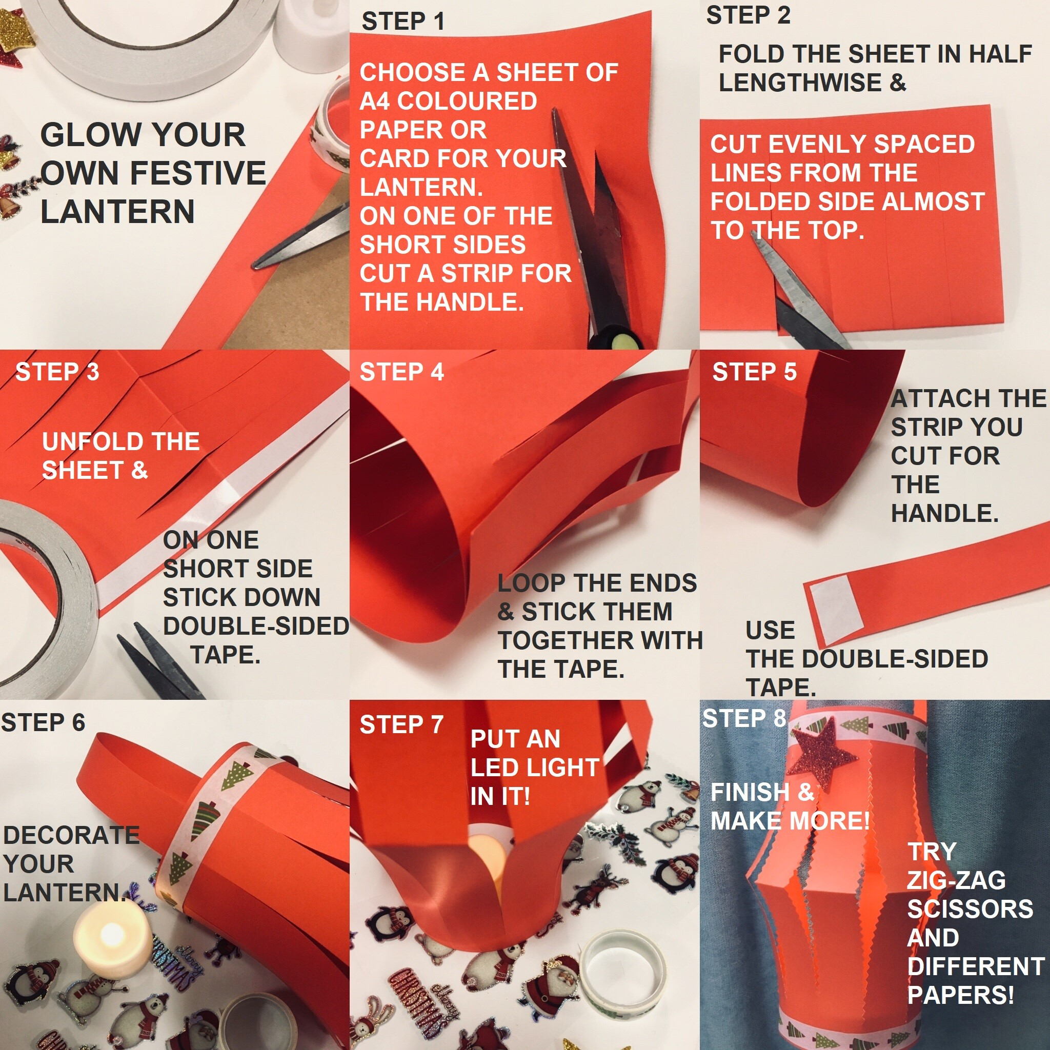 Instructions on how to create a red Christmas lantern