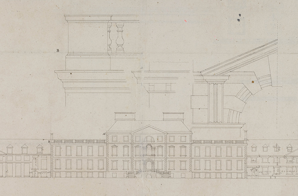 Survey drawing showing a building with details of certain elements like columns layered on top