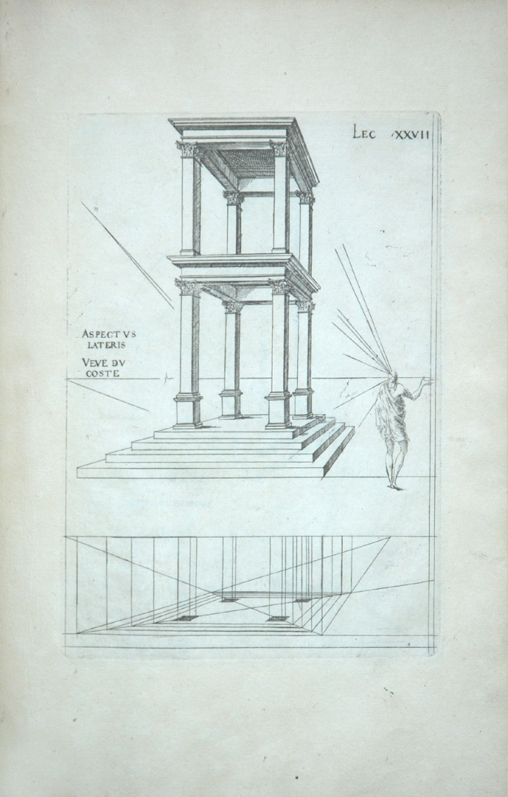 Drawing from a Treatise on Perspective by Du Cerceau showing a building in strict perspective and a figure with lines coming out of his eye to show the workings of perspective