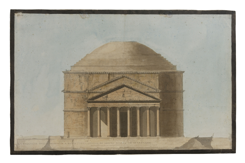 Elevation of the Pantheon, Rome, a domed Roman building with columns on the front