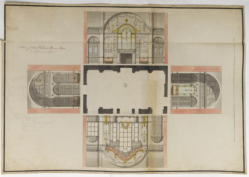 Floor plan with laid-out wall elevations, Lady Williams Wynne's room, St James's Square, London