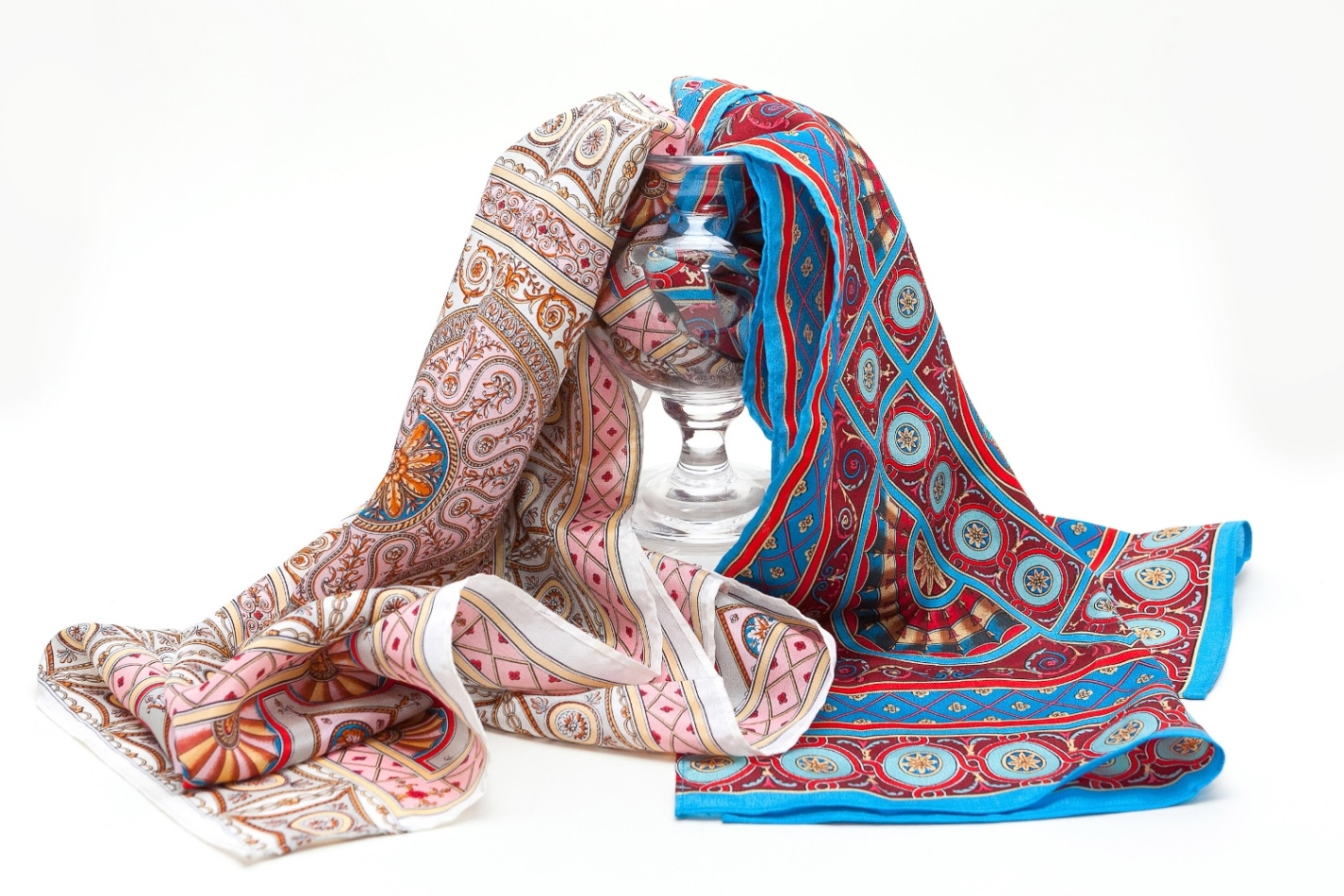Fox and Chave scarves with designs taken from the Soane Museum Collection